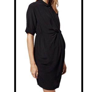 Topshop maternity 10 black knot front shirt dress